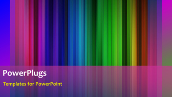 PowerPoint template displaying animated depiction of beautiful color bars with black frame - widescreen format